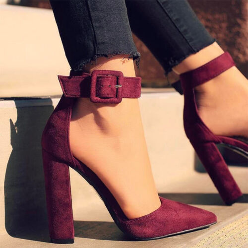 Womens Ladies Block High Heels Pump Pointed Toe Sandals Ankle Strap Buckle Shoes