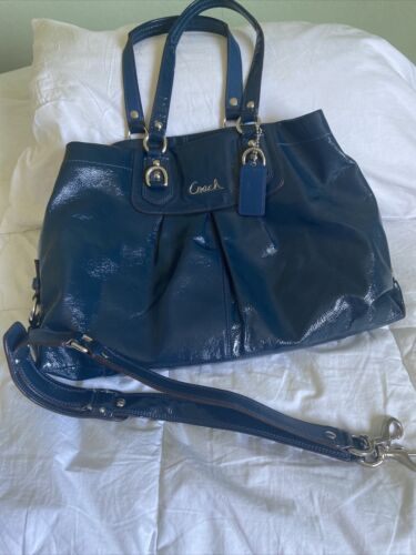 Coach Ashley Blue Patent Leather Shoulder Bag