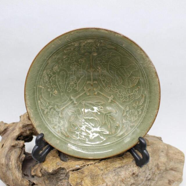 Chinese Old YaoZhou Kiln Flower and Bird Pattern Porcelain Bamboo Hat Bowl