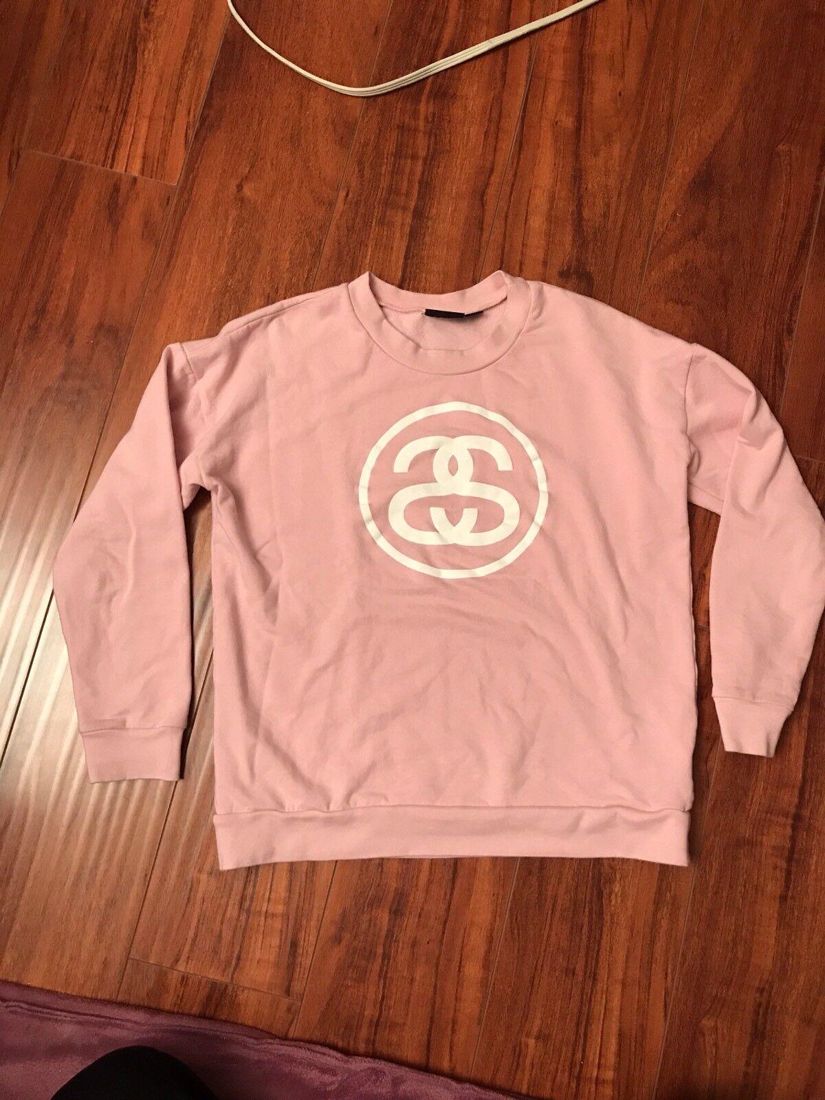 Womens Stussy Sweater XS Extra Small Pink Cute Box Logo Circle SS White Worldwid