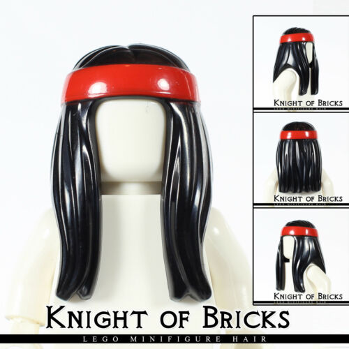 LEGO Minifigure Hair BLACK 99248pb02 Male Female Hippie Long Red Headband