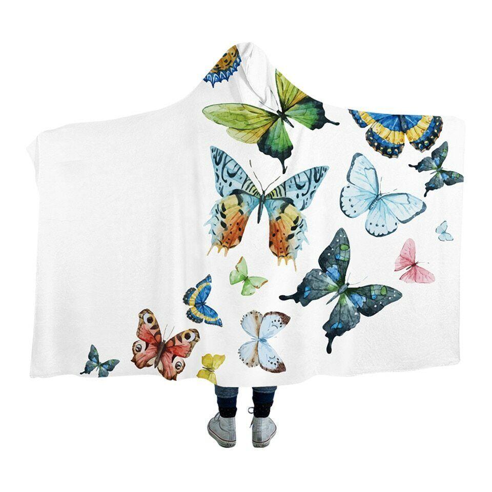 Flying Butterfly Hood Weiß Kids Adults Sherpa Fleece Fur Hooded Blanket Throw
