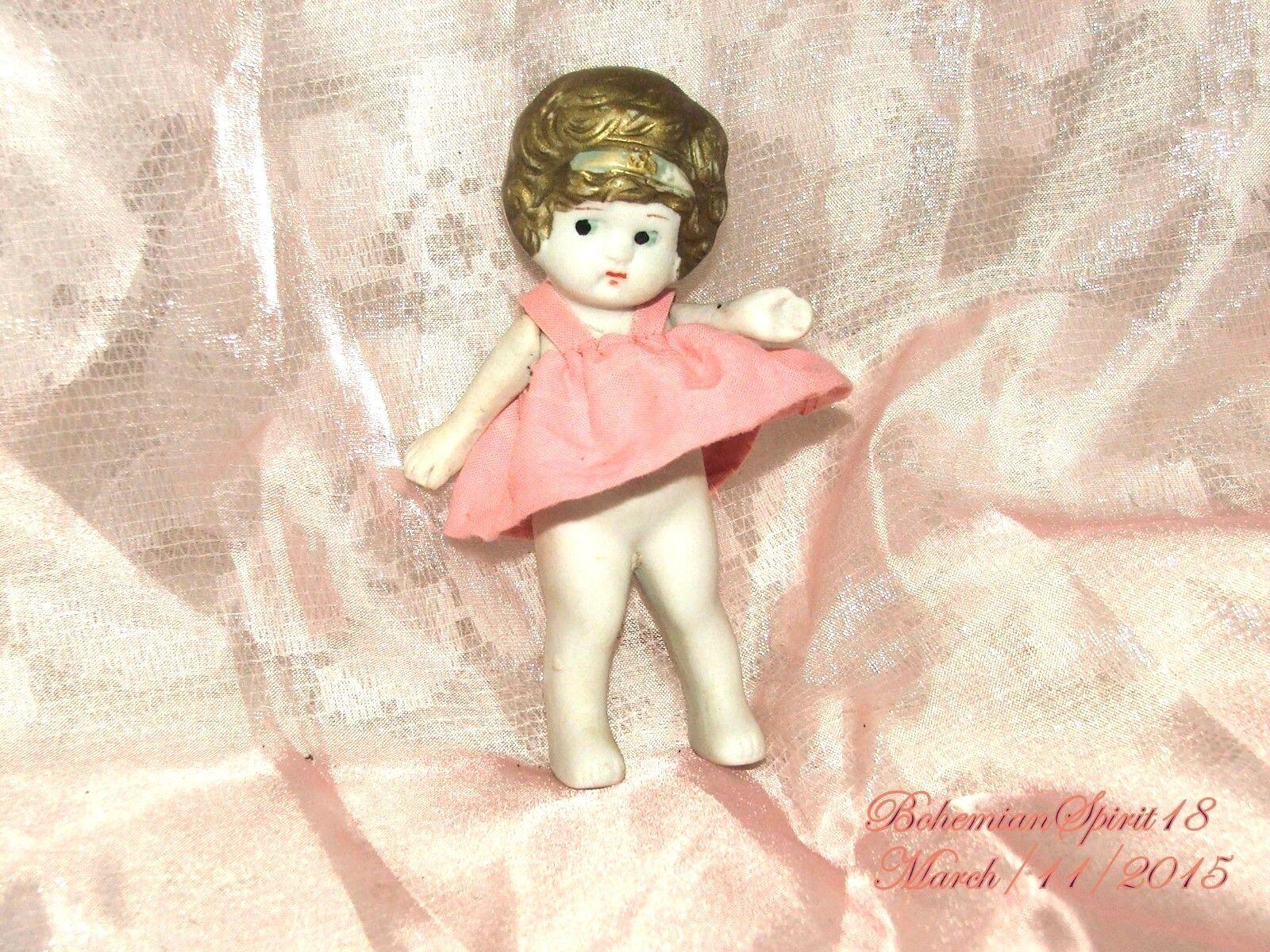 Antiguo Charlotte congelada Biscuit de Japón Brazos Articulado Vestido rosado Miniatura Muñeca