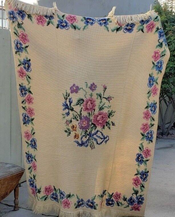 Vintage Afghan Crochet Blanket Throw Cross Stitch Floral Yarn Beautiful Handmade