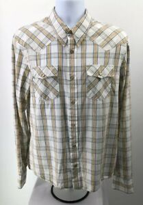 Hollister-Mens-Dress-Shirt-Size-Large-Western-Plaid-Pearl-Snap-Long-Sleeve
