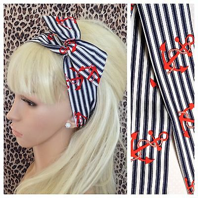 1950s Red /& White Nautical Head Scarf Wired Tie Hair Rockabilly Anchor Not