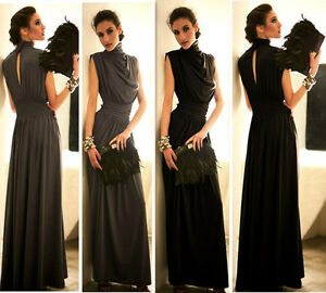 Queen-Turtleneck-Open-Back-Evening-Gown-Cocktail-Tunic-Maxi-Formal-Long-Dress
