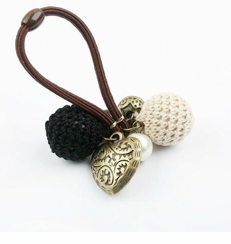 Vintage Style Heart /& Woven Balls Charms Black or Red Hair Elastic Bands HA2