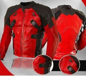 Deadpool-Rouge-Hommes-Courses-Moto-Cuir-Veste-Cuir-de-vachette-Des-sports-Veste