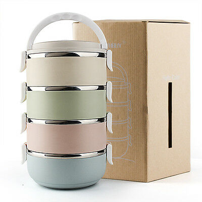 Insulated Thermal Bento Lunch Box Picnic Food Container Stainless Steel 3/4 Tier
