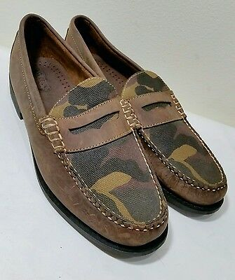 GH Bass Weejuns Camouflage Brown Leather Men's Penny Loafers Sz.10D *Nearly New*