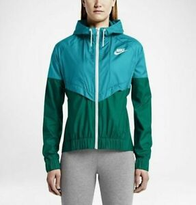 4977d6e484a7 Nike Windrunner Jacket Women s Sz L 726138-418 Green Omega Blue Very ...
