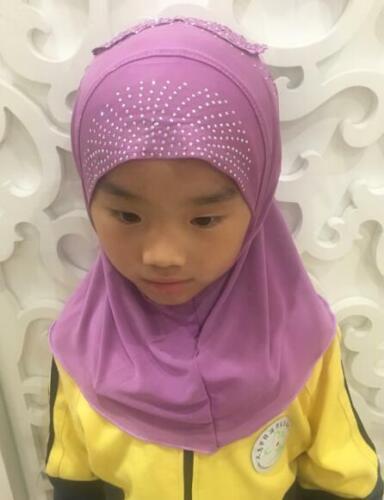 Muslim Kids Baby Girls Hijab Scarf Islamic Breathable Caps Shawls Arab Headscarf
