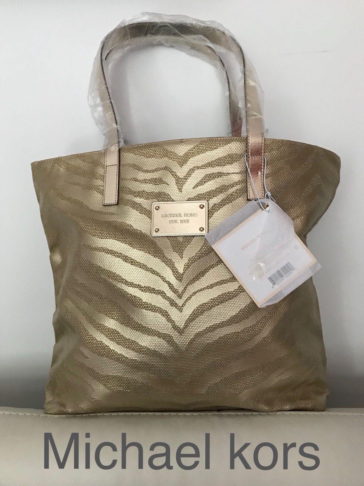 e83df2e9547d MICHAEL KORS LADIES GOLD TIGER PRINT TOTE SHOPPER BAG Brand New ...