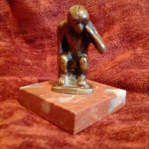 Rare bronze statuette mons belgium vgc beautiful patina bronze and marble