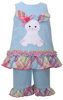 Easter Bunny Girls Short Set Aqua Gingham Check Bunny Applique Bonnie Jean