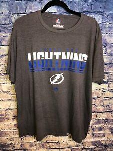 Tampa-Bay-Lightning-NHL-Hockey-Team-Logo-Majestic-Triple-Peak-T-shirt-Size-XL