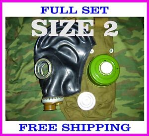 Military-soviet-russian-gas-mask-GP-5-SIZE-2-FULL-SET-Black