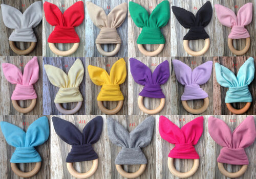 Safety Wooden Natural Baby Rabbit Teething Ring Teether Bunny  Babies Teethers