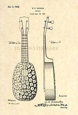Official US Patent Art Print - S. K. Kamaka Pineapple Ukulele Vintage 1928 - 109