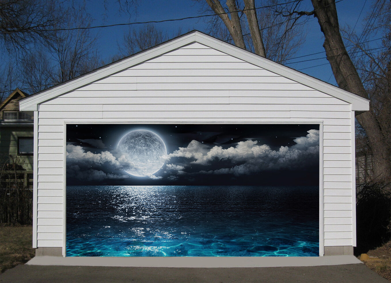 3D Sea Bright Moon Garage Door Murals Wall Print Decal Wall Deco AJ WALLPAPER IE