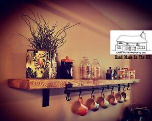 Reclaimed Scaffold Board Shelf And Steel Brackets - Solid, Rustic, Industrial.