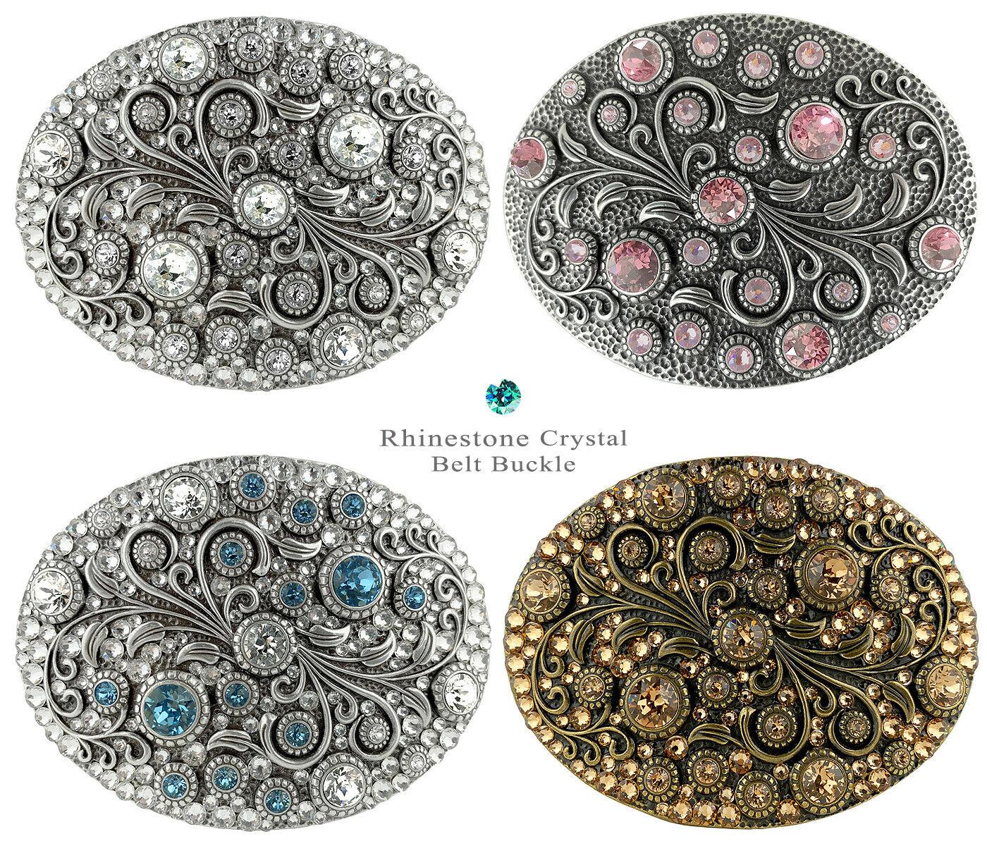 Rhinestone Crystal Belt Buckle Oval Floral Engraved Buckle Fits 1-1/2
