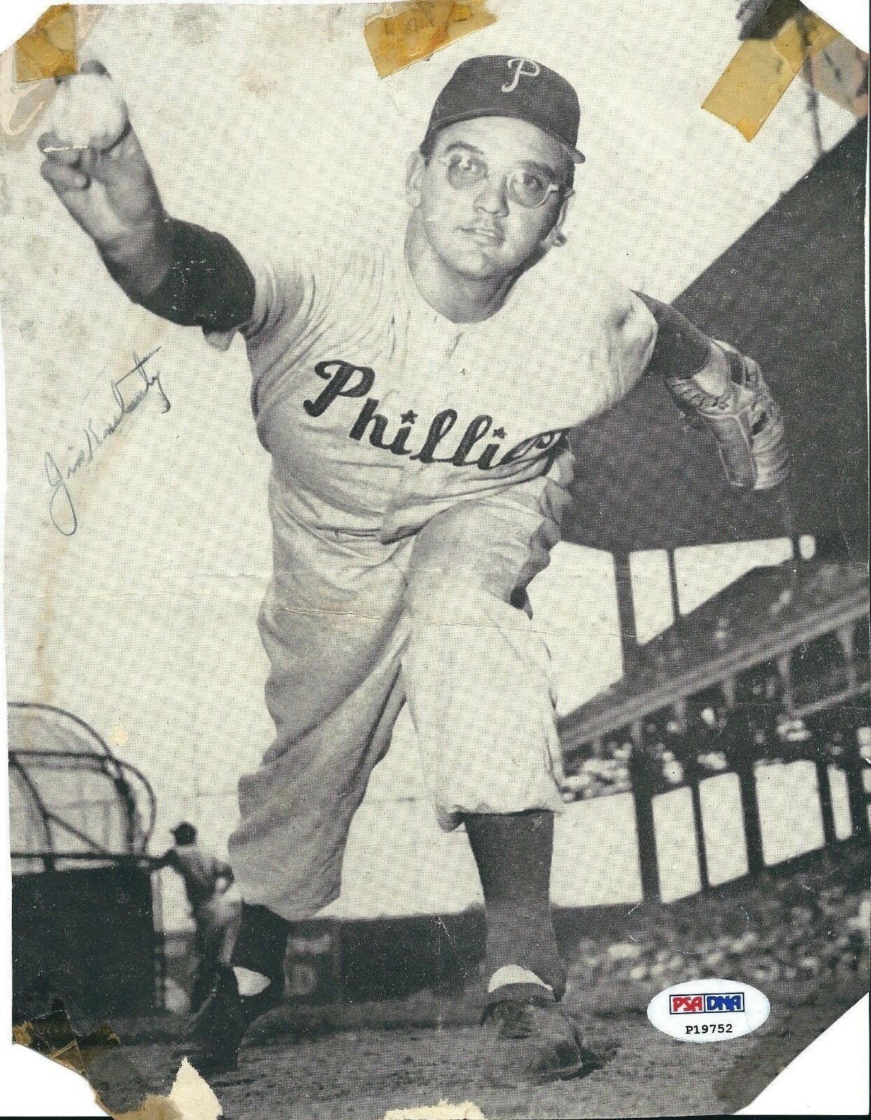 Jim Konstanty Signed Vintage Phillies Baseball Magazine Cut PSA P19752