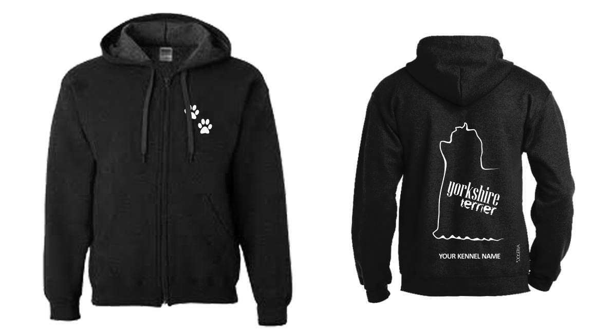 Yorkshire Terrier Full Full Full Zipped Dog Breed Hoodie, Exclusive Dogeria Design b037cc