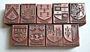 COUNTY COATS OF ARMS OF ENGLAND (Current & Former) Printing Blocks.