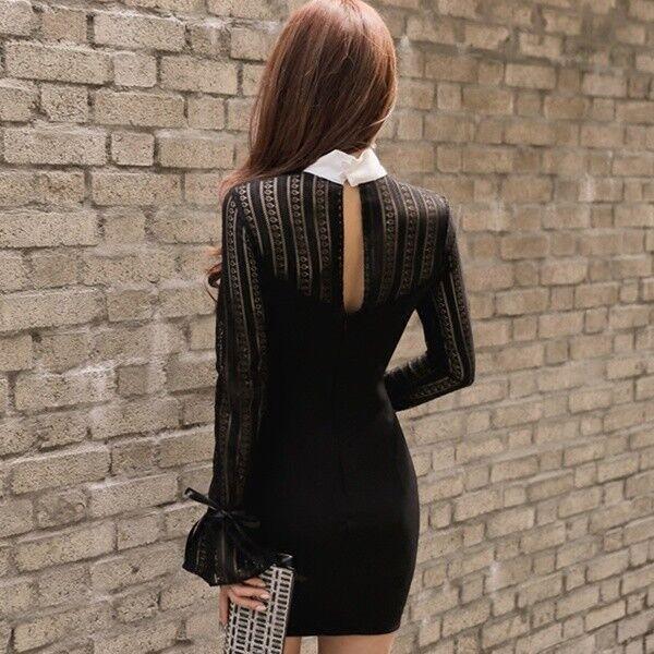 the latest 61641 06a0a Elegante vestito abito abito abito tubino nero bianco manica ...