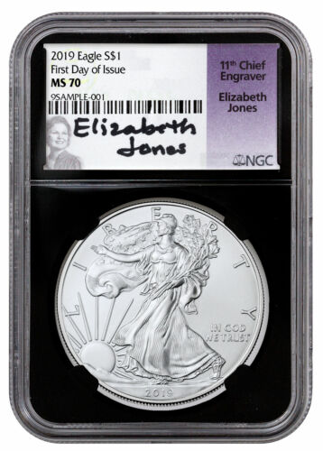 2019 1 oz Silver American Eagle $1 NGC MS70 FDI Black Core Jones Signed SKU56961