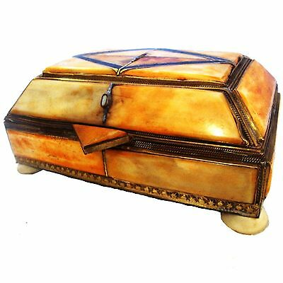 Moroccan Camel Bone Jewelry Box 04 Brass Rectangle Henna chest great gift