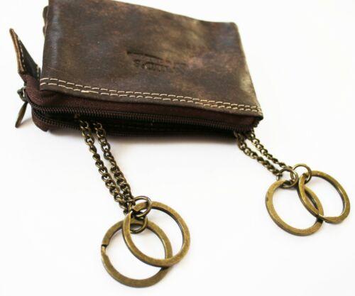 4 Ringen Braun Leder Schlüsseltasche Wild´s Schlüsselmäppchen Schlüsseletui m