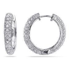 Amour Sterling Silver 1/2 Ct TDW Diamond Hoop Earrings I-J I2-I3