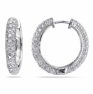 Amour-Sterling-Silver-1-2-Ct-TDW-Diamond-Hoop-Earrings-I-J-I2-I3