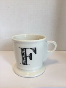 "Anthropologie White Coffee Tea Mug with"" F"" Monogram/Initial Black 4 1/2"" Tall"