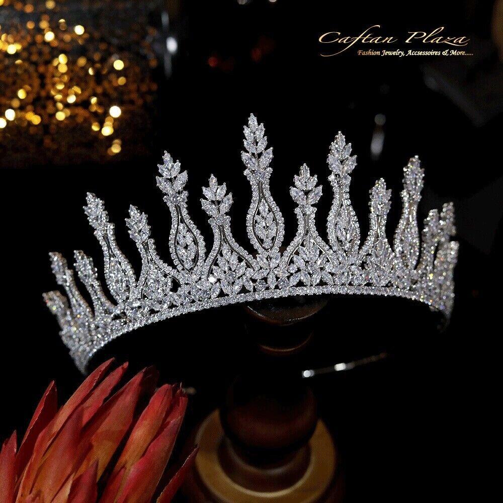 Premium Tiara XXL Tiara Crown Zirconia AAA + Bridal Jewellery Wedding Silver CZ