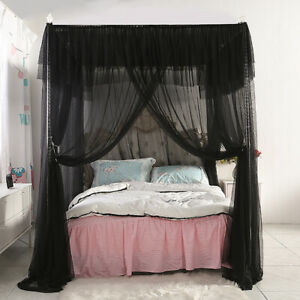 4 Corners Post Insect Bed Canopy Black Netting Curtain ...