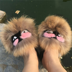 Brown-Real-Raccoon-Fur-Monster-Slipper-Sandal-Shoes-Indoor-Outdoor-Flat-Slider