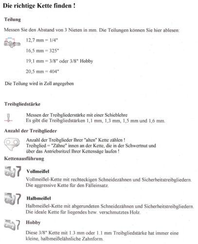116 Sägekette 38 cm für Kettensäge Dolmar 110 115i 111 115iH 113 114 112