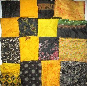 LOT-PURE-SILK-Vintage-Sari-Fabrics-REMNANT-16-pcs-8-034-SQUARES-Black-Yellow-CRAFT