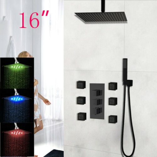 6 Massage 16/'/' LED Rainfall Shower Set Ceiling Mount Head//Handheld Mixer Faucet
