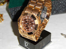 Renato Cyclops Mens Watch Swiss Movement 22 Jewels Rose Tone Water Resistant