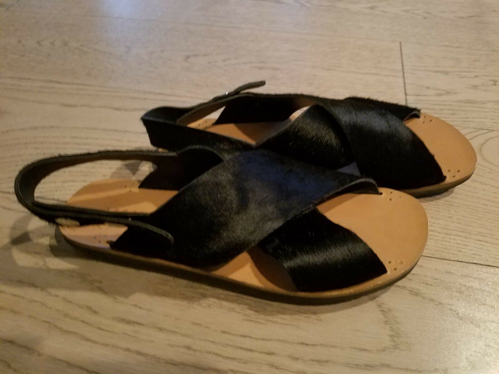 JIGSAW nero Cowhair Criss Cross Leather Sandals; Rubber Rubber Rubber Soles, Sz 39; MINT COND 8dbe37