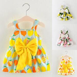 c41bcdc31c05 Infant Baby Girls Clothes Lemon Printed Sleeveless Princess Gallus ...