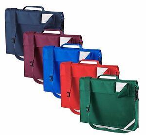 Boys-Girls-Junior-BLUE-GREEN-RED-BURGUNDY-School-Book-Bag-with-Strap