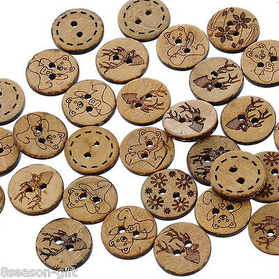 200 Mixed Pattern Coconut Shell 2 Holes Sewing Buttons Scrapbooking 15mm B19947