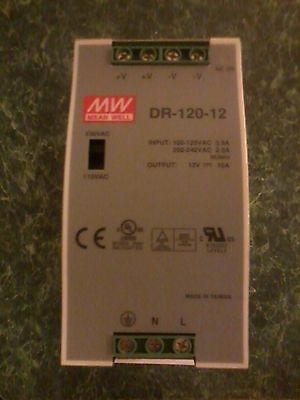 120V or 240V Din Rail Single Output Switching power supply. 12V Output