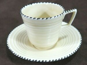 Crown Ducal China Cup and Saucer Art Deco Demitasse Very Rare Stitch Pattern